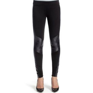 CAbi Ricky Faux Leather Inset Panel Ponte Leggings